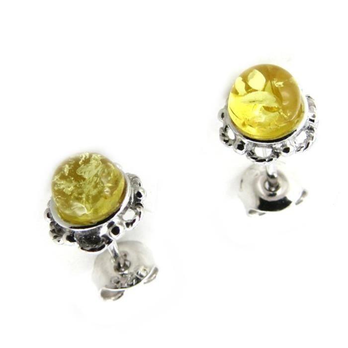Les Trésors De Lily [N1984] - Boucles Argent Inspiration ambre miel (rhodié) - 8 mm