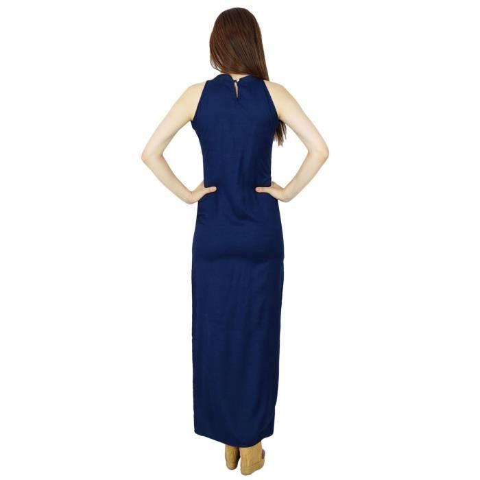 Bimba Femmes Longue Maxi Robe Avec Fente Latérale Keyhole Cou Manches Classique Robe De Cérémonie, Bleu