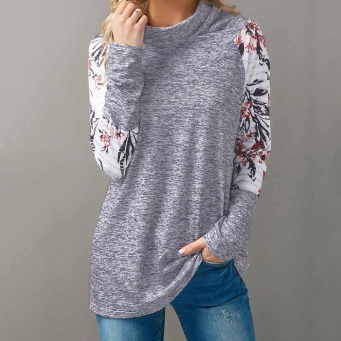 84ad867485f En Tops Manches Blousee Longues Sweat Femmes Imprimer Vrac Gris D automne  shirt ZnSnO65