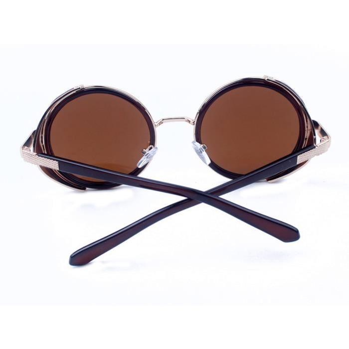 Les femmes hommes mode vintage rétro lunettes de mode unisexe aviateur miroir voyage lunettes de soleil Thé or pleine lumière de