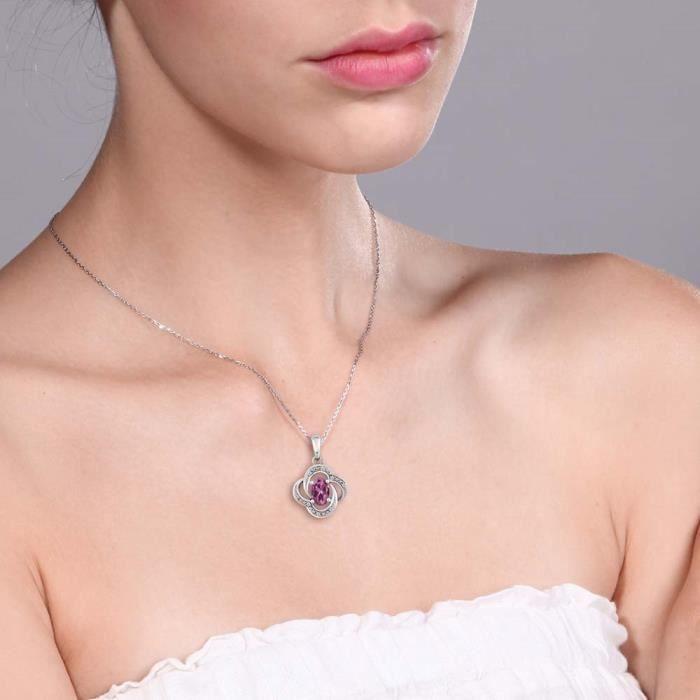 Pendentif En Or Blanc 10k - Tourmaline rose ovale et Diamant avec chaine - 0.54 ct