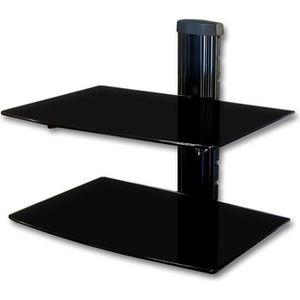 ETAGÈRE MURALE WISS-Meuble mural en verre couleur noire à deux ét