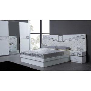 Lit adulte design avec t te de lit aspect cuir blanc - Tete de lit pas cher design ...