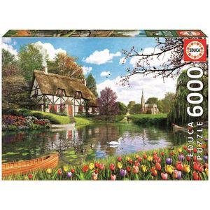 PUZZLE EDUCA Puzzle 6000 Pièces - Lakeside Cottage
