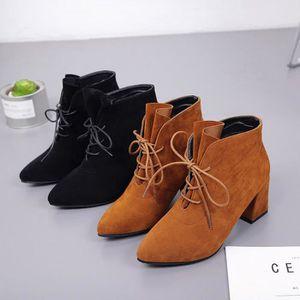 BOTTE Les femmes Boots Square talon plates-formes haut d