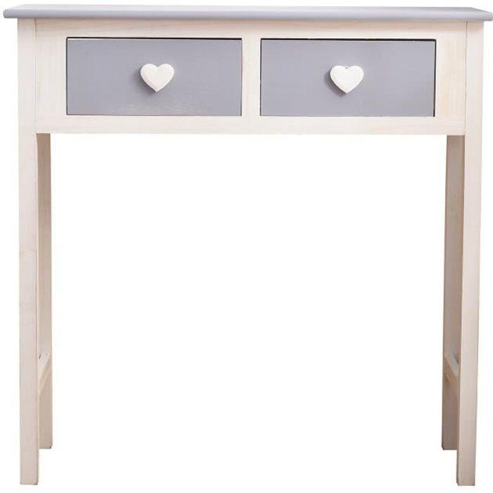 Table Console 2 Tiroirs Bois Blanc Gris Shabby Chic Provencal Salon ...