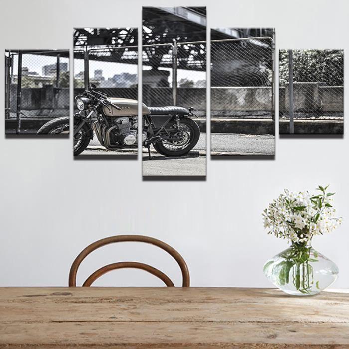TABLEAU - TOILE non étirée 5 pièces Canvas Printed affiches moto v