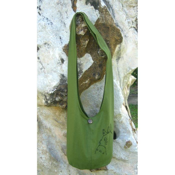 épaule de la hanche - sac bandoulière coton couleur verte avec mon voisin 7 CWIEB