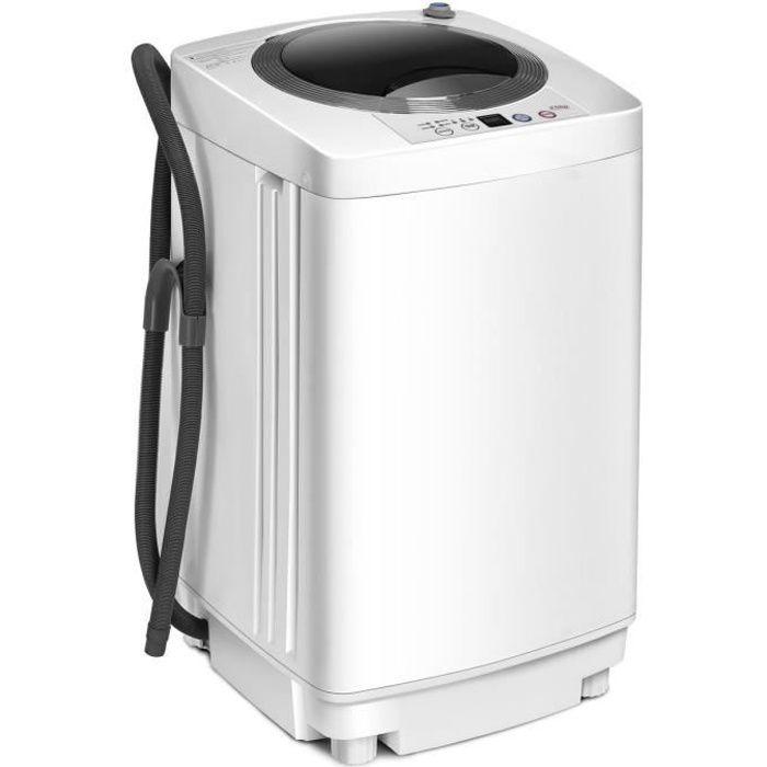 Costway Lave Linge Mini Machine à Laver Automatique 240 W Capacité De Lavage 3 5kg Avec Fonction De Déshydratation 43 43 75cm