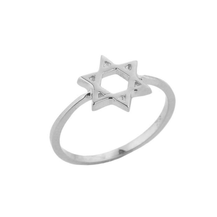 Bague Femme 14 ct Or Blanc 585/1000 Étoile de David juive Cercle