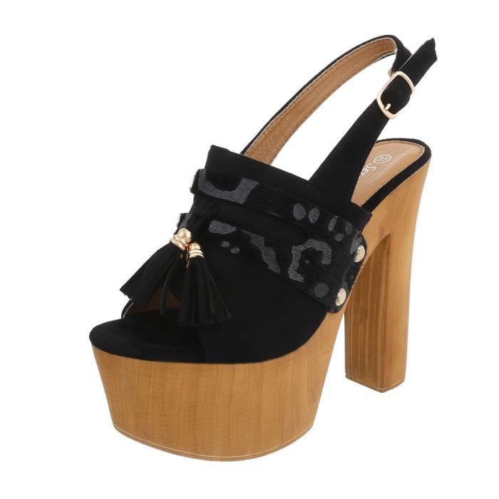 Chaussures femme sandale à talons hauts Plateau High Heels noir 41