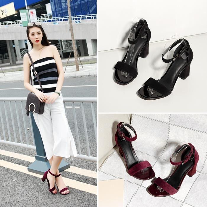 Été nouvelles femmes & # 39; tête carrée de sandales pieds rugueux avec des chaussures à talons hauts,noir,34