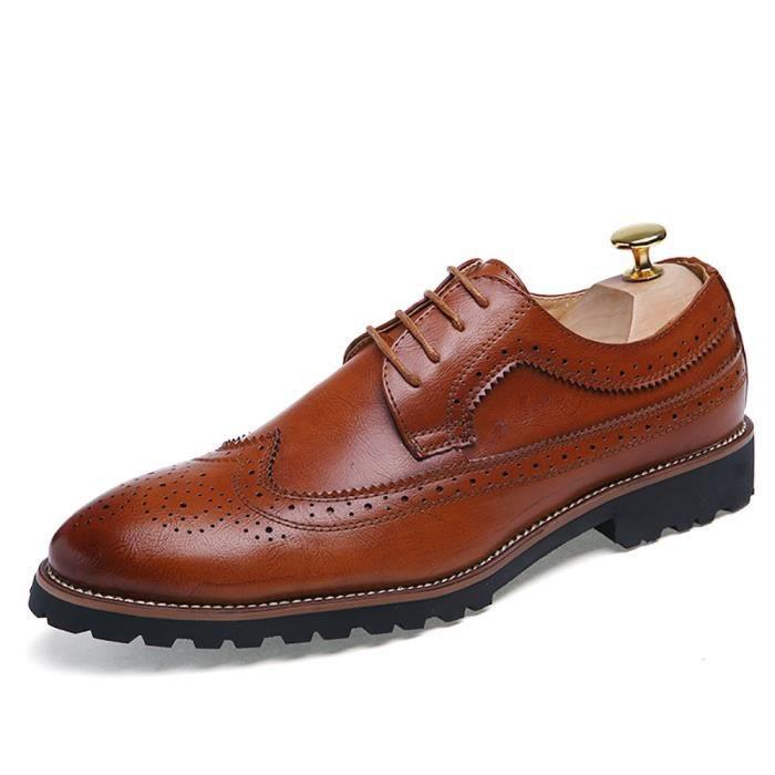 Brogue Robe Chaussures lacent Oxfords en cuir de vache véritable chaussures de travail d'affaires Y1BST Taille-42 1-2 f558H7yoh0