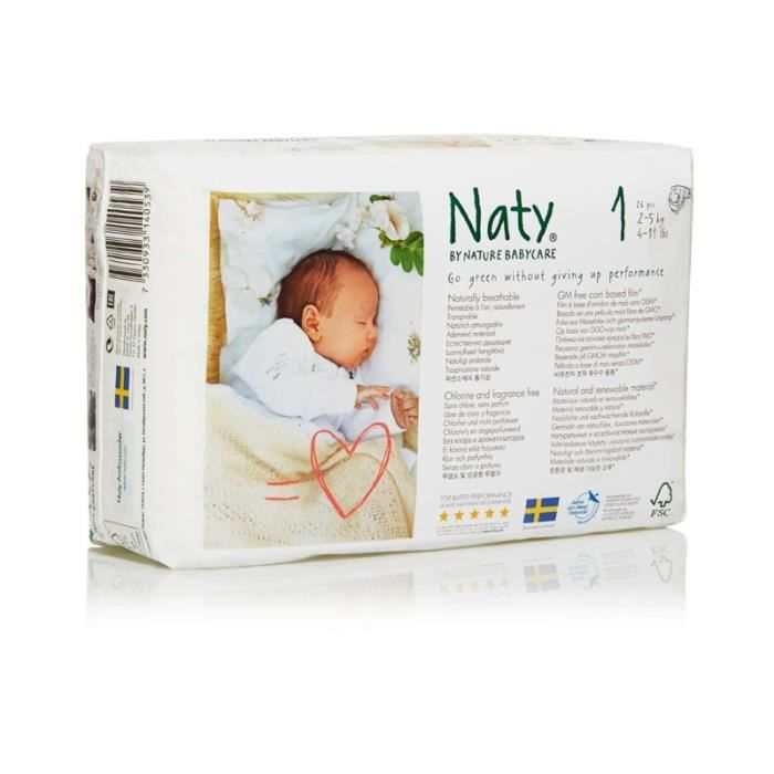 Naty Nature Babycare Taille 1 2 à 5 Kg 26 Couches Blanc Blanc