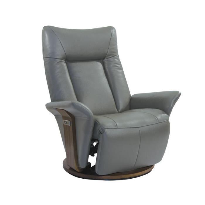 Fauteuil de Relaxation électrique cuir Gris clair ESPION L 81
