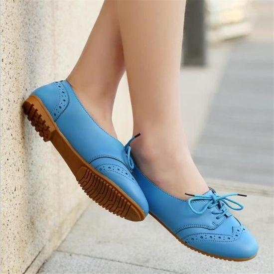 Femmes Chaussure Cuir Chaussures Leger Bwys xz043bleu37 Occasionnelles Jl13FcTK