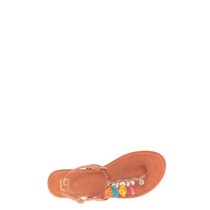 Sandales, nu-pieds Cassis Côte D'azur Eika entre doigt avec Breloques Tan
