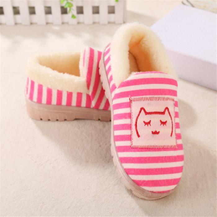 chaussons femmes mignonne chat 3D Impression pantoufle femme chaud hiver peluche cachemire et chaussures femmes de luxe de E7UHsb9bTg