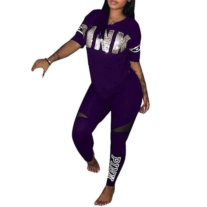 De Femmes Tops Lettre Joggings Manche Pantalons Sport 2 Courte Tenue Impression Shirt Combinaisons Survêtements rhtdsQ
