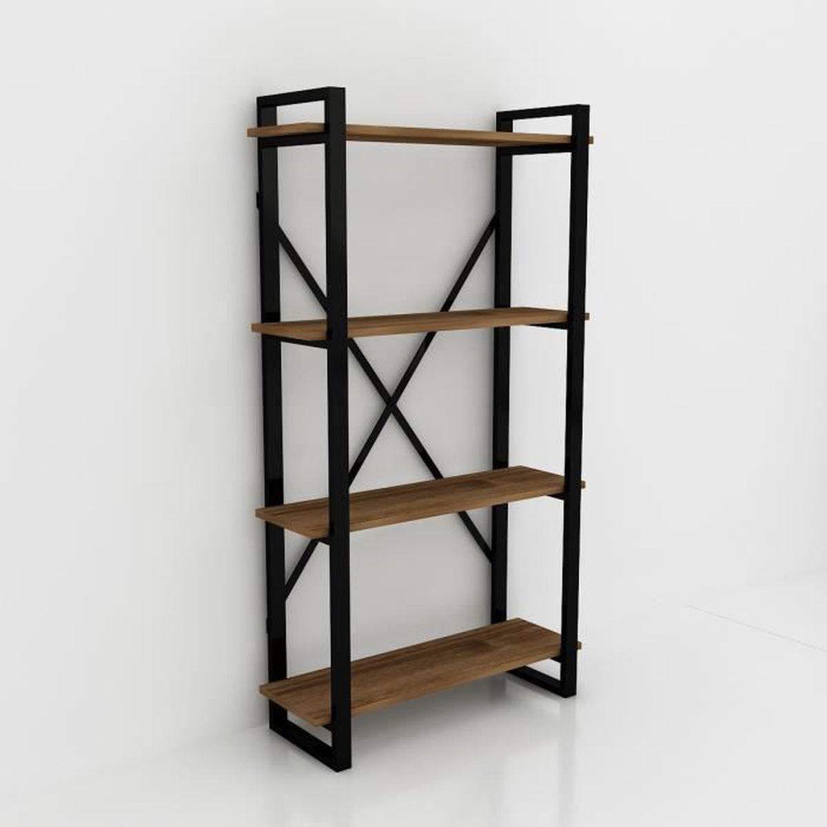 bibliotheque noire et bois achat vente pas cher. Black Bedroom Furniture Sets. Home Design Ideas