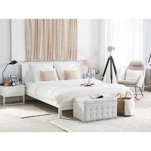 lit double bois blanc achat vente pas cher. Black Bedroom Furniture Sets. Home Design Ideas