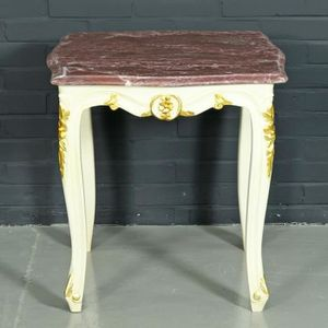 TABLE D'APPOINT Table d'Appoint Baroque Casa Padrino Blanc / Doré