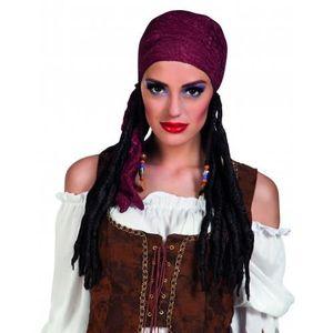 de5f04225f92 CHAPEAU - PERRUQUE Perruque pirate avec bandana bordeaux femme