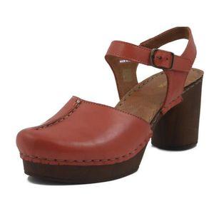 SANDALE - NU-PIEDS PREGUNTA, Sandale en cuir couleur perroquet rouge,