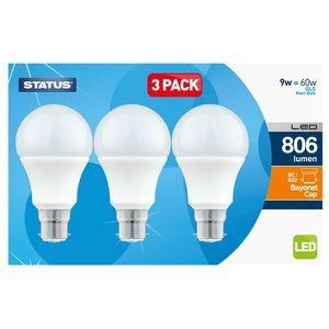 AMPOULE - LED STATUS Boîte de 3 LED GLS Ampoules à baïonnette -