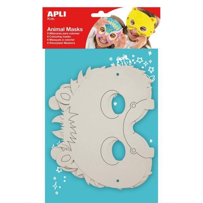 APLI Pochette 6 Masques Animaux à colorier 6 Modèles Assortis