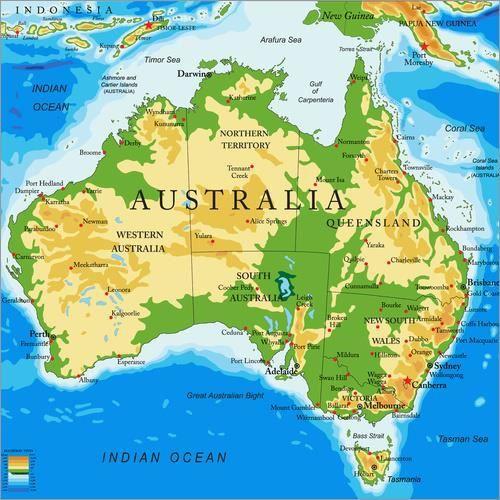 Carte Topographique Australie.Australie Carte Topographique Achat Vente Affiche