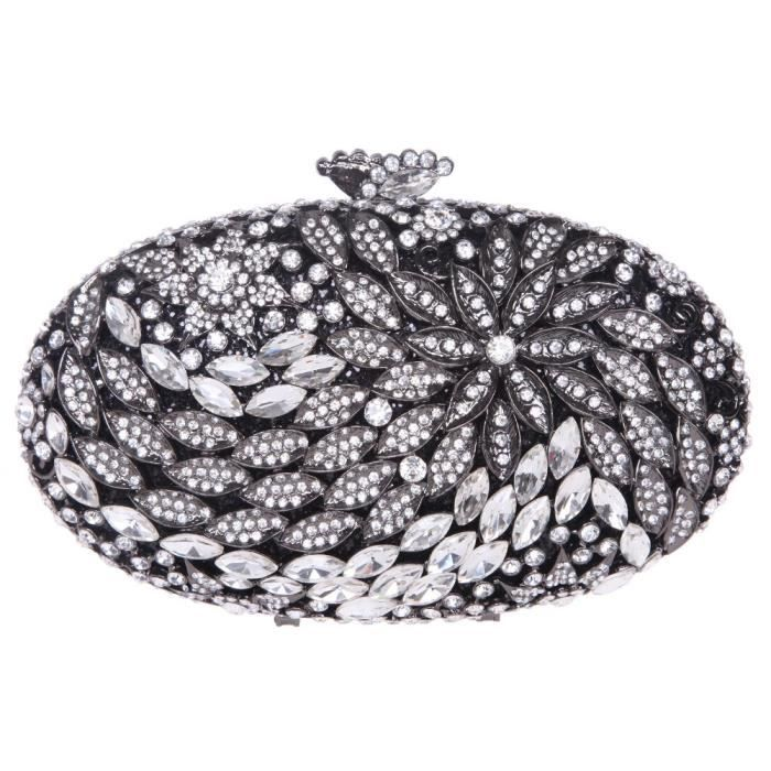Round Shape Floral Clutch Purses With Crystal Rhinestone For Women XZCEN