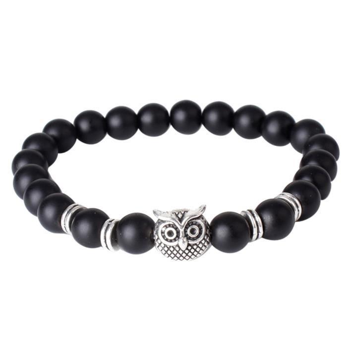 meilleur authentique 442b6 0d8ef Natural howlite Pierre Buddha hommes perles bracelet porte-bonheur Bijoux  cadeau NOY1153775