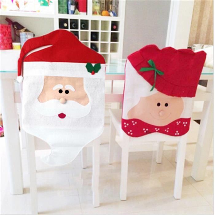 1 Set 2 Pcs Housse Dossier Chaise Forme Pere Noel Decoration Pour