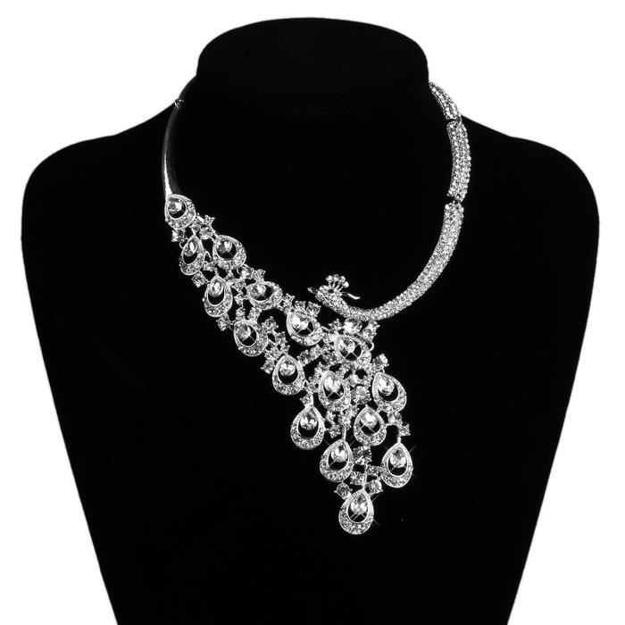 femme collier mariage strass boucle d39oreille parure kit With collier femme mariage