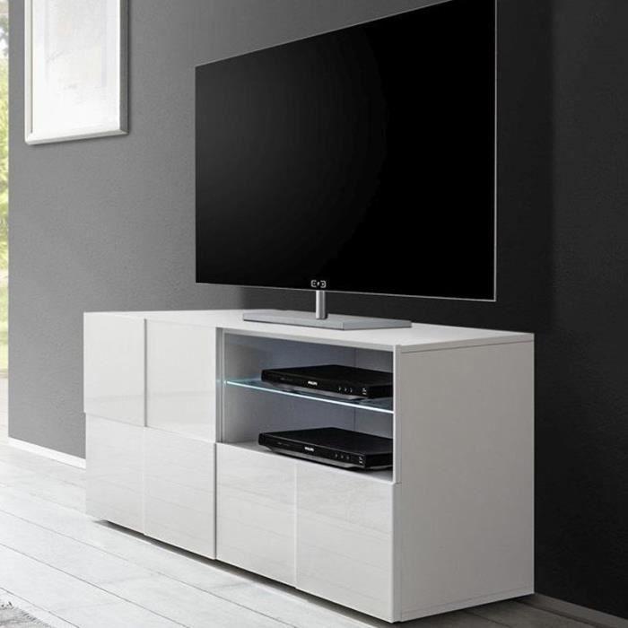Petit Meuble Tv Design Blanc Laqué Sandrea Achat Vente Meuble Tv