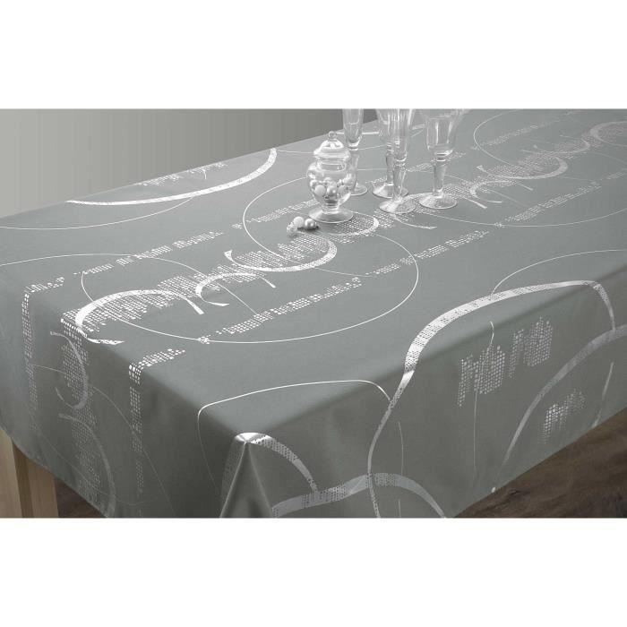 Nappe Shiny Carrée 180x180 cm - Entretien Facile Gris clair ...