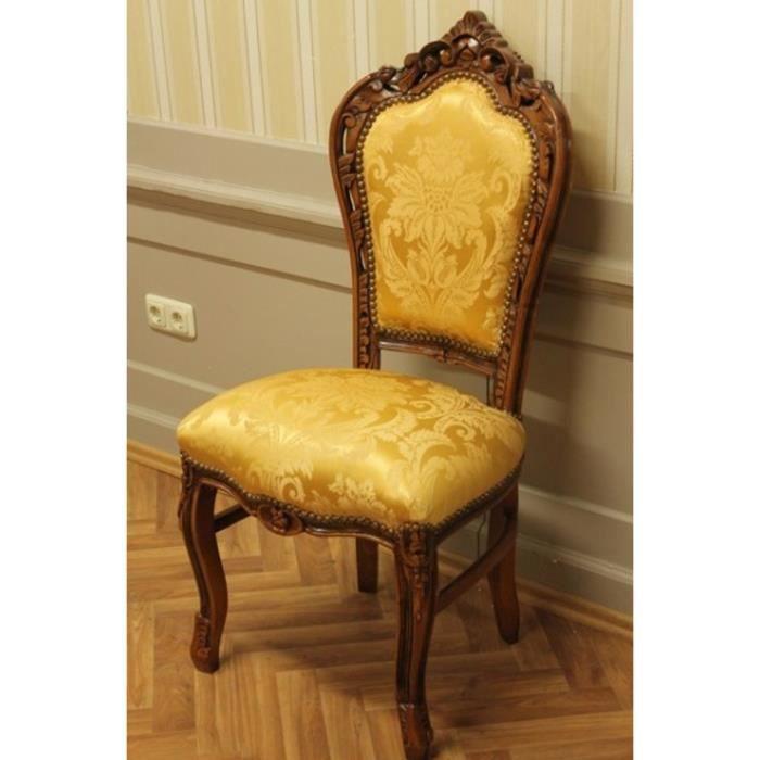 Salle A Manger Chaise Style Baroque Tissu Dore Achat Vente