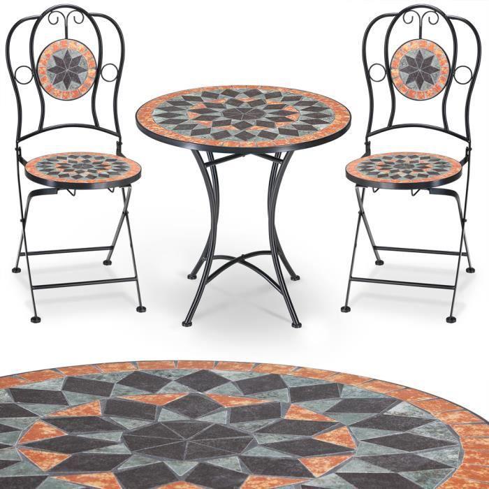 Salon jardin mosaique Terracotta 1 table 2 chaises - Achat / Vente ...