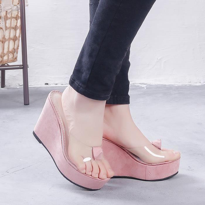 Sandales transparentes ouvert toe casual femme flip flops chaussures de plage XYWS40Cl