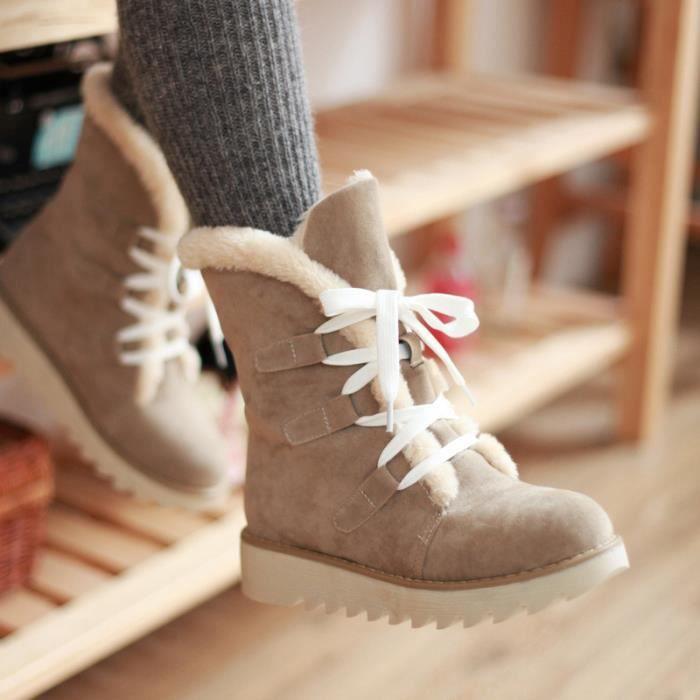 GLAM®Bottes de neige de cheville de fourrure pour femmes gardent des chaussures de lacets chauds