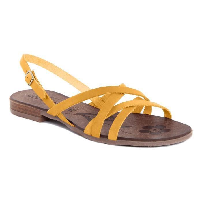 Sandales en cuir - jaune