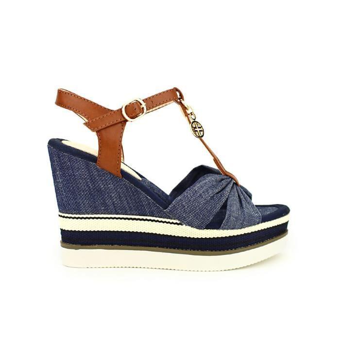 f332449aae9b29 Sandale - nu-pieds, Compensées Bleu Chaussures Femme, Cendriyon Bleu ...