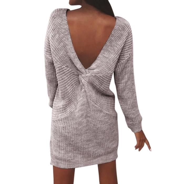 a27f4f6205dfc Minetom Minetom Robe Pull Tricot Dos Nu Femme Col Rond Manches Longues Automne  Hiver Sweater Robe de Cocktail