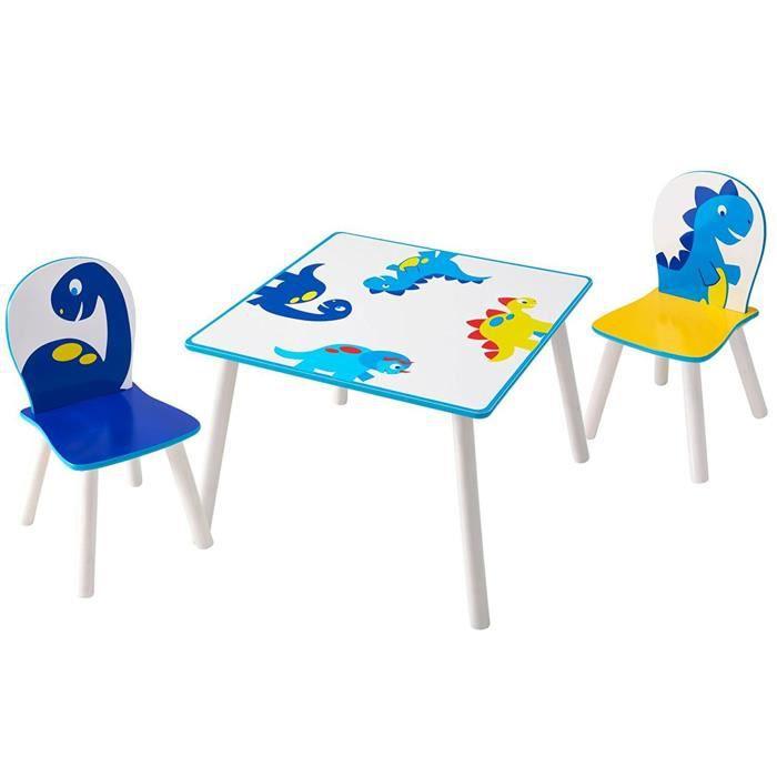 Coloris Table Et En Bois 2 Dinosaure Motif Enfants Blanc Ensemble Chaises LARj54