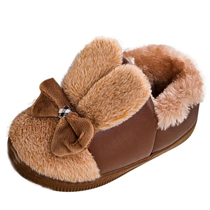 BOTTE Bébé Laine Bowknot Caoutchouc Semelle Souple Bottes de Neige Doux Berceau Chaussures Bottes Tout-Petits@Brown elFaWDk