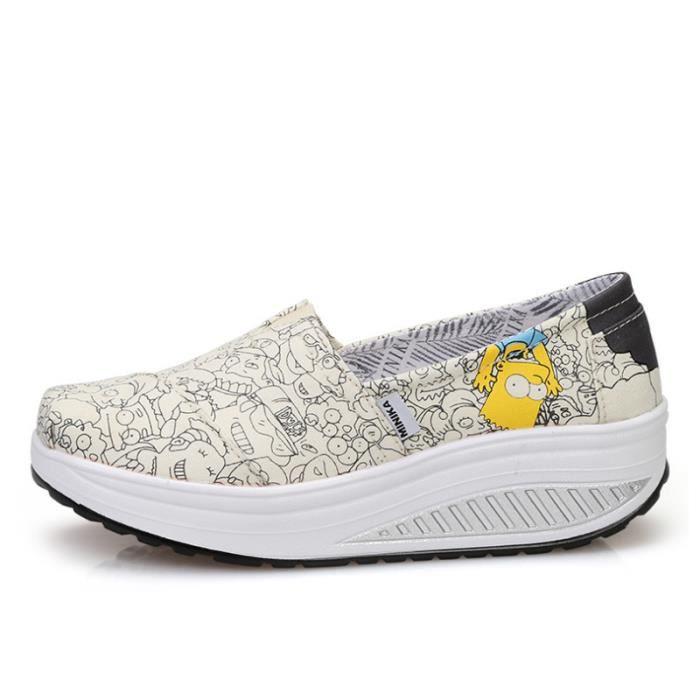 Chaussures Femmes Mode Detente Classique fond épais Chaussure WYS-XZ087Blanc40
