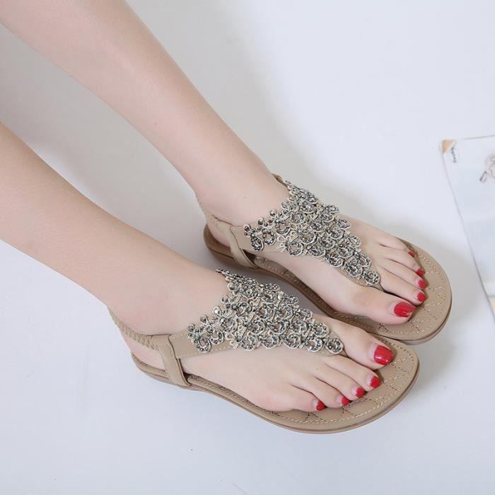 Sandales Chaussures Plage Femme d'Été Bohême avec Rivet sTfeOoOtk