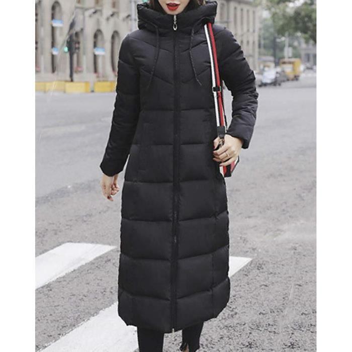 Femme Longues Grande Épaissir Doudoune Taille Manteau Capuche Minetom Hiver Avec Manches Zippé wpn14xCxIq