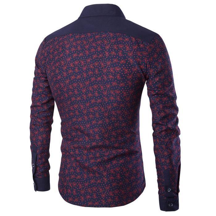 manches à hommes occasionnels longues Chemise pour rouge Vin 4pTqMx